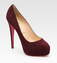 Christian Louboutin Miss Clichy Suede Platform Pumps in Red (bordeaux) - Lyst
