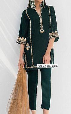 Bottle Green Velvet Suit   Buy Pakistani Fashion Dresses and Clothing Online in USA, UK Pakistani Dresses Online Shopping, Pakistani Formal Dresses, Online Dress Shopping, Pakistani Designer Clothes, Pakistani Designers, Indian Designer Outfits, Designer Party Dresses, Velvet Suit, Party Suits