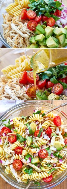 Healthy Chicken Pasta Salad - chicken salad recipe - Packed with flavor, protein and veggies! This healthy chicken pasta salad is loaded with tomatoes, avocado, and fresh basil. - recipe by 28288303897928444 Chicken Pasta Salad Recipes, Healthy Chicken Pasta, Healthy Pastas, Healthy Salad Recipes, Salad Chicken, Basil Chicken, Avocado Chicken, Healthy Pasta Dishes, Veggie Pasta
