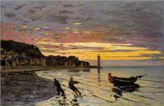 Hauling a Boat Ashore, Honfleur - Claude Monet