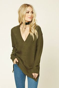 Forever 21 Contemporary - A long-sleeved sweater made from a ribbed knit featuring an oversized fit, a sharp V-neckline, and a vented round hem.