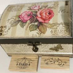 Decoupage Box, Decoupage Vintage, Oil Painting Pictures, Painting On Wood, Tole Painting, Art Storage, Shabby Chic Crafts, Idee Diy, Pretty Box
