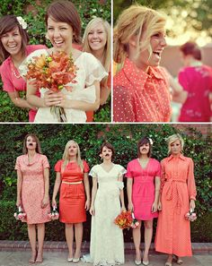bridesmaids. Love that they're wearing different dresses in the same color family.