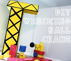 DIY Wrecking Crane for A Construction Birthday Party – Make an awesome wrecking crane for your little one's construction birthday party or just for the playroom. Mine was almost free! Construction Party Decorations, Construction Birthday Parties, 4th Birthday Parties, Birthday Diy, Construction Party Games, Birthday Ideas, Birthday Banners, Third Birthday, 1st Birthdays