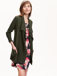 Dark Green Cardigan with loose opening.  Womens Handkerchief-Hem Open-Front Cardigans