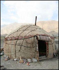 Animal skin hut.