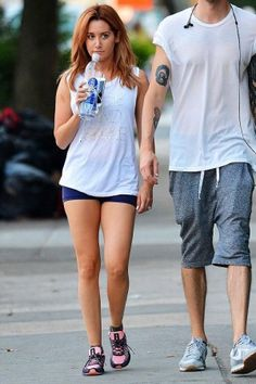 Ashley Tisdale wearing New Balance Hknb 1600 Running Shoes and Luciana Rise and Shine Muscle Tank