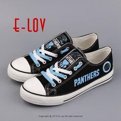 NFL 2017 Fans Carolina Panthers Black Canvas Shoes Boys Men Canvas Shoes Sport Gift Print Leisure Shoe Drop Shipping #Affiliate