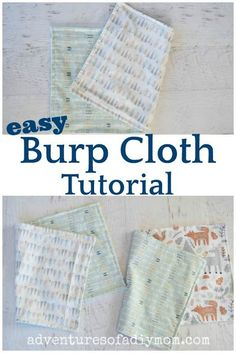 homemade flannel burp cloths Baby Sewing Tutorials, Sewing Blogs, Sewing Projects, Sewing Crafts, Craft Projects, Craft Ideas, Baby Receiving Blankets, Flannel Baby Blankets, Homemade Burp Cloths