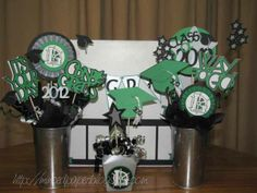 Homemade Graduation Centerpieces | ended up making 20 of these for the tables at Adam's graduation ...