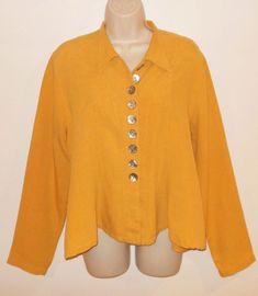 GERTIES Blouse M Lagenlook Long Sleeve Goldenrod Yellow Oversized Shirt Medium  #GERTIES #lagenlook #GoldenrodYellow #ArtsyStyle