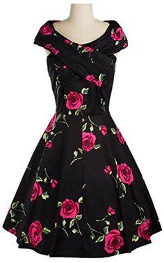 Aivtalk Damen Schiff-Kragen Knielang 50er Retro Vintage Kleid Rockabilly Swing Abendkleid Wickeltop - Rose Blumen Schwarz & Rot Größe M AIVTALK http://www.amazon.de/dp/B01CU6S87I/ref=cm_sw_r_pi_dp_o34dxb0JK4FNK