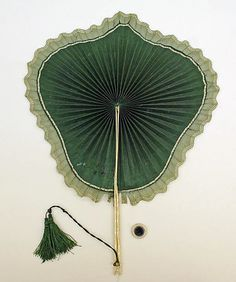 Green silk fan with bone handle / European / ca. 1850 / at the Met