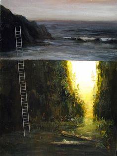 "Jeremy Miranda - Oregon Ladder (study) Acrylic on Panel 9""x12"""