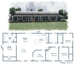 The elevation doesn't match the plan and it bothers me a bit. Metal House Plans, Pole Barn House Plans, Pole Barn Homes, New House Plans, Dream House Plans, House Floor Plans, Pole Barns, Metal House Kits, 40x60 House Plans
