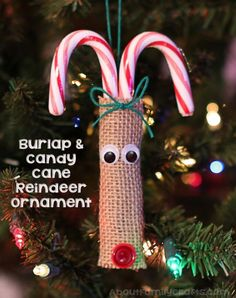 Burlap and Candy Cane Reindeer Ornament | About Family Crafts
