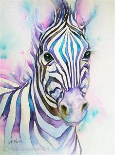 "Daily Paintworks - ""Turquoise Stripes Zebra"" by Arti Chauhan"