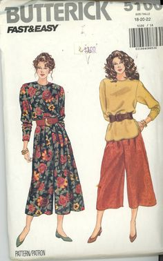 Butterick 5100 Sewing Pattern Split Skirt Skort Culottes and Top Miss Misses UNCUT and UNUSED EASY sewing pattern for pullover top and