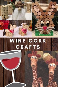 A great collection of crafts that can be made with wine corks and a few basic art supplies. Wine Cork Ornaments, Wine Cork Crafts, Wine Bottle Crafts, Wine Cork Table, Wine Corks, Christmas Wine, Christmas Decor, Wine Glass Centerpieces, Cork Wreath