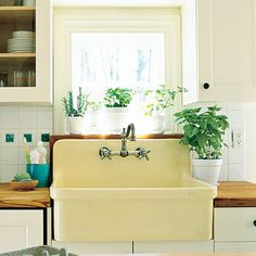 Butter Yellow Farmhouse Sink - Farmhouse Sinks with Vintage Charm - Southern Living