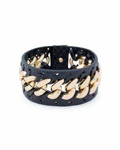 Tough Love Leather Bracelet - Me likey! Leather Chain, Leather Jewelry, Jewelry Box, Jewelry Accessories, Fashion Accessories, Unique Jewelry, Gold Leather, Jewelry Ideas, Love Bracelets
