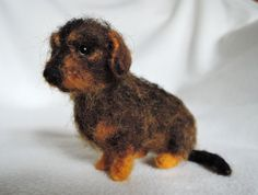 Custom needle felted dog - wire-haired dachshund dackel- made to order - custom pet portrait - memorial sculpture