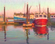 Wharf Light, Fishing Boat Pastel Painting by Poucher, painting by artist Nancy Poucher Seascape Paintings, Your Paintings, Paintings For Sale, Original Paintings, Pastel Paintings, Boat Art, Daily Painters, Water Reflections, Fishing Boats