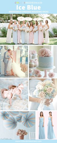 Pink Wedding Cakes Ice blue bridesmaid dresses wedding ideas, good with blush pink bridesmaid dresses and wedding shoes, white bridal gown, ice blue wedding cakes with blush pink flower cake topper. Ice Blue Weddings, Blue And Blush Wedding, Blush Wedding Flowers, Blush Pink Weddings, White Bridal, Blue Wedding Shoes, Blush Pink Bridesmaid Dresses, Blue Bridesmaids, Bridesmaid Flowers