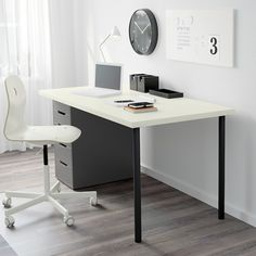 IKEA - LINNMON / ADILS, Table, white white stained oak effect, silver color, Pre-drilled leg holes for easy assembly. Adjustable feet allow you to level the table on uneven floors. Screws for attaching the legs to the table top are included. Ikea Linnmon, Alex Drawer, Drawer Unit, Smart Design, Montage, Home Office, Office Lounge, Office Chairs, Office Decor