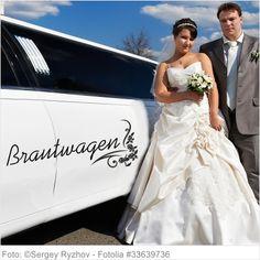 Autoaufkleber Hochzeit - Brautwagen mit Ornament