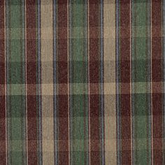 Jewel Beige Green and Burgundy Country Lodge Cabin Plaid Tweed Upholstery Fabric