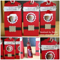 Ein Gruß vom Weihnachtsmann Christmas Fair Ideas, Christmas Favors, Christmas Paper Crafts, Christmas Hacks, Stampin Up Christmas, Christmas Tag, Christmas Treats, Handmade Christmas, Christmas Gifts