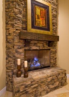 Stacked Rock Fireplace