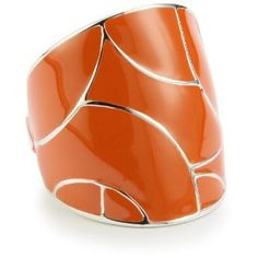 "ELLE Jewelry ""Flying Colors"" Orange Enamel Sterling Silver Ring, Size 7 $119"