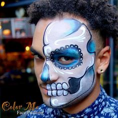 Men's Sugar Skull Makeup - Color Me Face Painting - Vanessa Mendoza