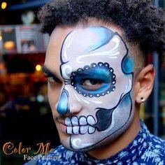 Men's Sugar Skull Makeup - Color Me Face Painting - Vanessa Mendoza