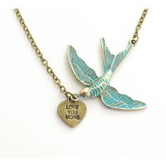 Girlfriend Gift, Gift for Her, Love You More Verdigris Blue Bird Heart... ($22) ❤ liked on Polyvore featuring jewelry, necklaces, long charm necklace, blue necklace, blue heart necklace, hand stamped necklace and charm chain necklace