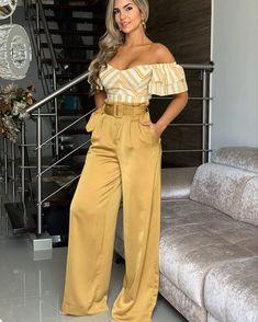 Heels Yellow Casual 56 Ideas For 2019 Look Fashion, Fashion Pants, Girl Fashion, Fashion Dresses, Womens Fashion, Classy Outfits, Chic Outfits, Girl Outfits, Pantalon Large