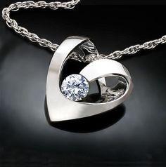 heart necklace - silver necklace - Argentium silver - wedding - cz - modern jewelry - 3401