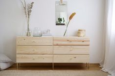 When opposite attracts⭐️ IKEA Ivar dresser au naturel with our Hedvig Arch Leg and Stina knob adding a bit of glamour. Thank you… inredning ikea malm Prettypegs Ikea Malm, Ivar Ikea Hack, Ivar Regal, Extra Wide Dresser, Comfortable Dining Chairs, Ikea Drawers, Shaker Furniture, Furniture Legs, Furniture Outlet