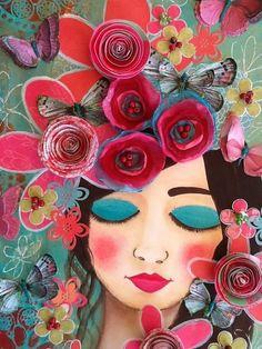 Mixed Media Painting, Mixed Media Collage, Mixed Media Canvas, Art Floral, Mixed Media Faces, Art Du Collage, Face Art, Art Faces, Medium Art