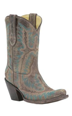 Corral® Ladies Distressed Brown with Turquoise Fancy Stitch Punchy Snip Toe Western Boots