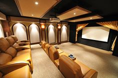 90 Home Theater & Media Room Ideas (Photos) Check out these pictures of min. 90 Home Theater & Media Room Ideas (Photos) Check out these pictures of mind-blowing home thea At Home Movie Theater, Home Theater Rooms, Home Theater Design, Cinema Room, Theater Times, Home Theaters, Home Entertainment, Just Dream, My Dream Home