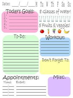 print a cutesy little daily/weekly organizational sheet
