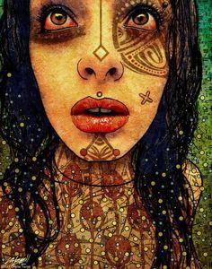 Digital painting by Charlie Terrell Digital Portrait, Digital Art, Digital Paintings, Girl With Green Eyes, Psy Art, Goth Art, Dream Art, Fantastic Art, Awesome Art