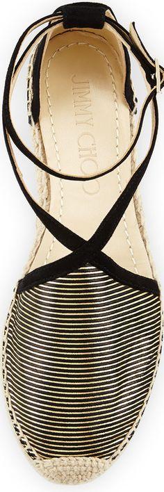 Jimmy Choo Donna Metallic Striped Espadrille, Black/Gold   House of Beccaria~