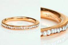 a band of pearls... imagine tucking one tiny little diamond in the center. my dream ring.