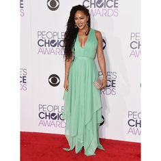 Meagan Good Green Stylish Prom Dress 2016 People's Choice Awards Red Carpet
