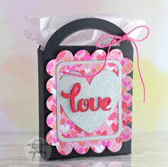 Treat tote by Amy Sheffer. Reverse Confetti Cuts: Pretty Panel Heart Love, Tagged Tote, and Love Note. Valentine's Day treat.
