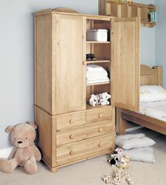 Amelie Oak Childrens Double Wardrobe #home #furniture #oak #wood #interior #decor #design #bedroom #wardrobe #storage #drawers